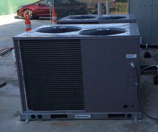 Commercial HVAC installation in Tracy with 7.5 ton heat pump condensers