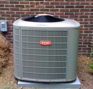 Bryant air conditioner installed outside brick building in Tracy