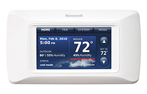 Smart thermostat by Honeywell set to 72 degrees