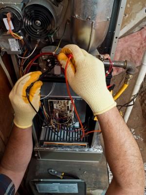 heater repair man in Turlock at work