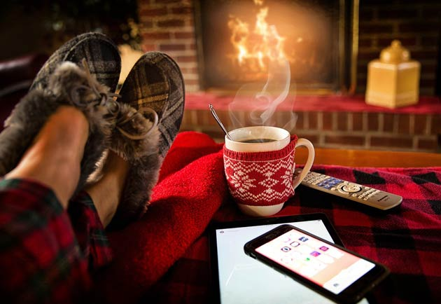 relaxing at home in winter