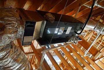 HVAC system installed in an attic in Lathrop