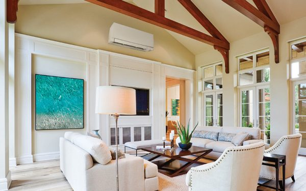 Mitsubishi brand ductless HVAC system installed in residential home