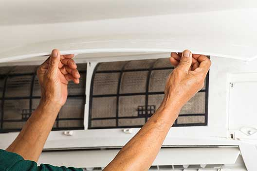 Heating and cooling contractor maintains a Mitsubishi ductless AC system in Modesto, California
