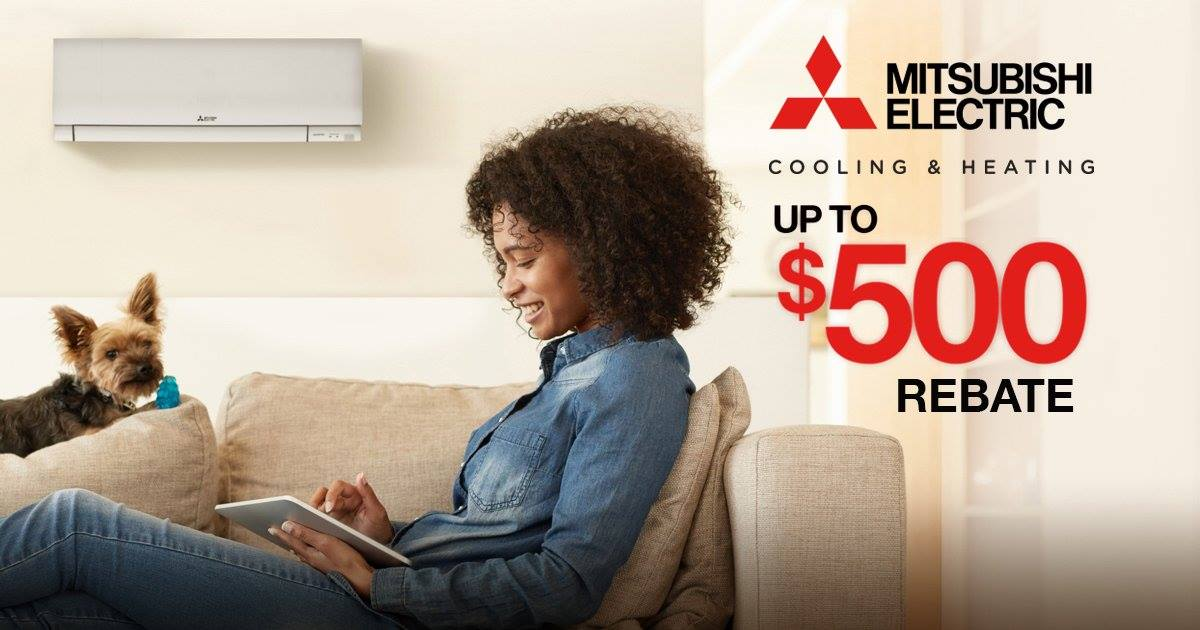 Up to $500 on new system installations from Mitsubishi Electric heating & cooling systems