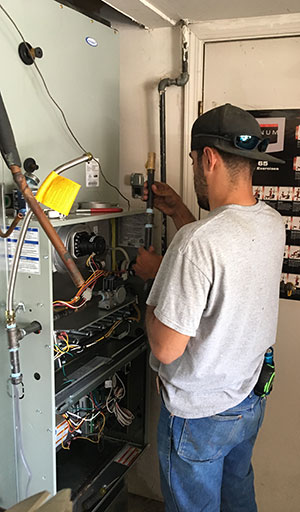 Josh repairs a Goodman brand furnace in Modesto, CA
