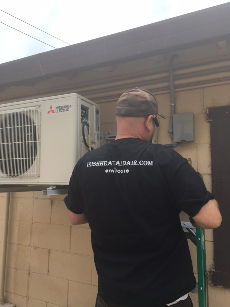 preventative maintenance service for a mitsubishi residential ac unit by a hvac contractor in sailida